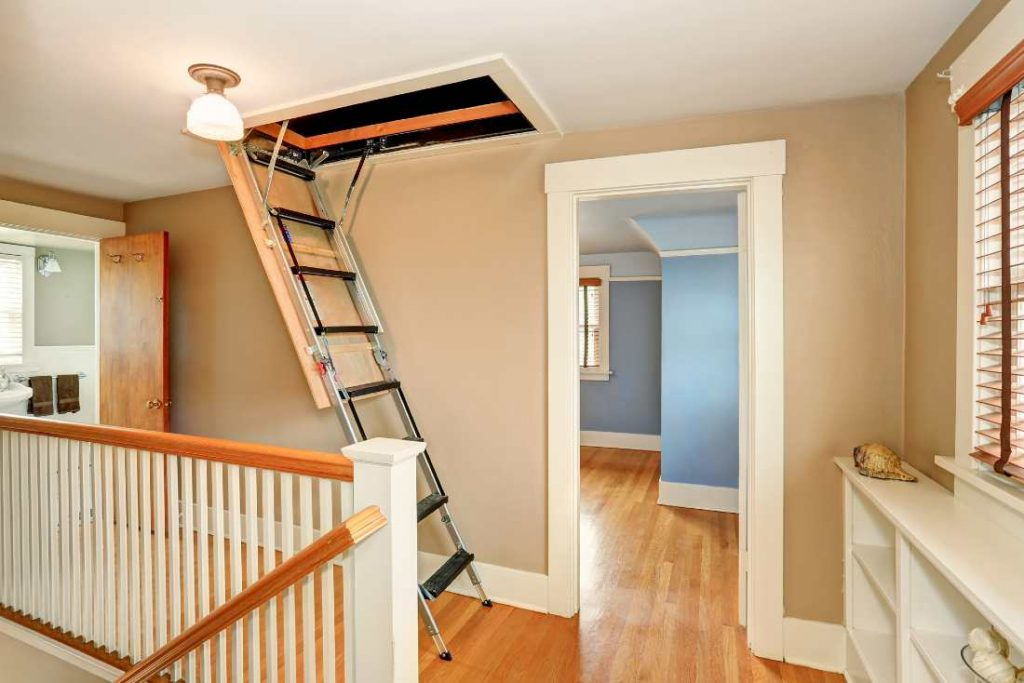 folding attic ladders viewed from the landing