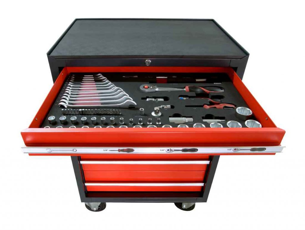 red portable toolbox