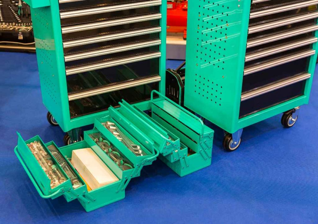 green toolbox with wheels